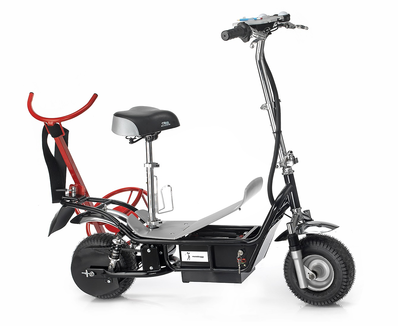 Scooter with Rack from right side and half open Battery room