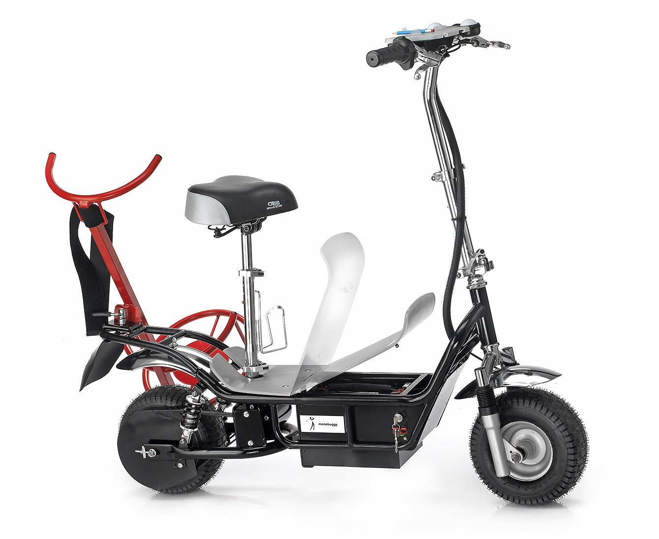 Scooter with Rack from right side and open Battery room